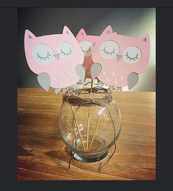 Pink Owl die cut outs pink owl party by JennyKnickDesigns on Etsy