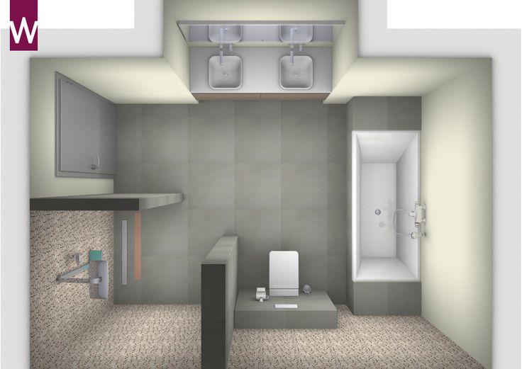 3D badkamerontwerp. Grote badkamer met dubbele wastafel, inloopdouche, wandcloset en ligbad