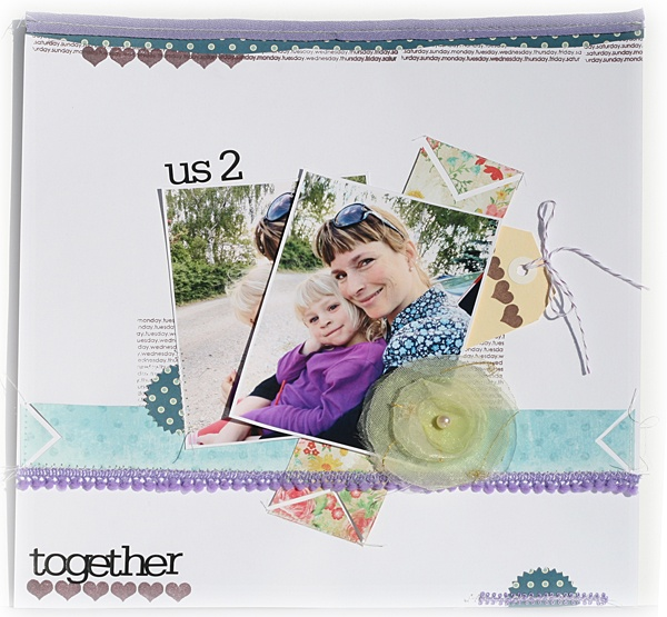 Page layout by Petra Offrell using days of the week and chevron stamps. Nice!