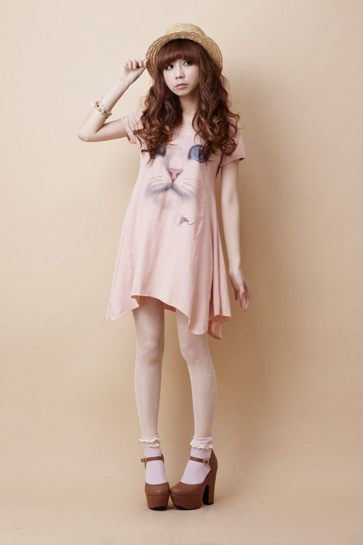 Cat printed cute dress outfit japan dress fashion Fashion style for short girl