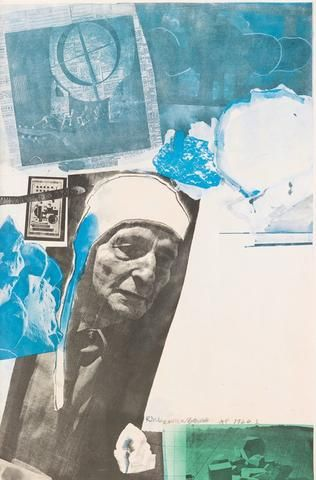 "Robert Rauschenberg (American, 1925-2008), ""Homage to Frederick Kiesler"", 1966, offset color lithograph, signed and dated"
