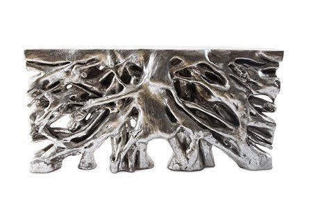 Square Root Console Table, #2, Silver Leaf