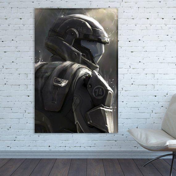 Halo Wall Art Halo Canvas Halo Home Decor Video Game Art Halo Etsy Home Decor Chicken And Shrimp Recipes Art