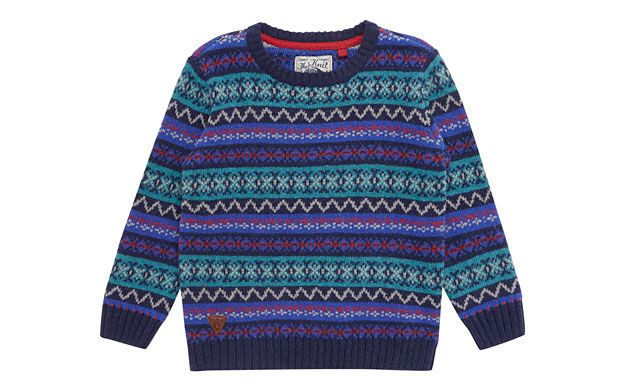 "Blue Knitted Jumper. ""This retro-inspired knitted jumper is a cosy and cool choice as the seasons change."""