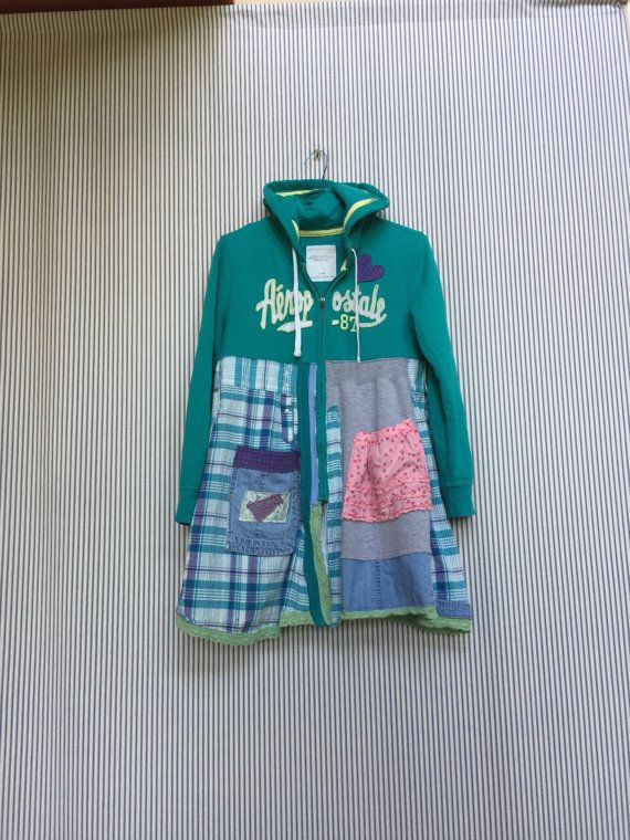 Upcycled Hippie Hoodie Colorful Patchwork and by SimplyCathrineAnn