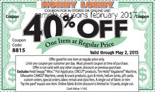 Hobby Lobby coupons february 2017