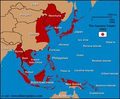 The above map depicts areas of Asia / the Pacific Ocean that were under Japan's control.