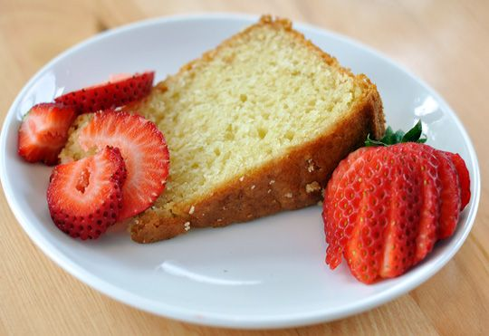 Yogurt Cake  serves 8 or more  1 1/2 cups full-fat yogurt  2/3 cup olive oil  1 1/4 cup sugar  3 eggs  1 teaspoon vanilla  2 1/2 cups all-purpose flour  2 1/2 teaspoons baking powder  3/4 teaspoon baking soda  1/2 teaspoon salt  Pinch freshly ground nutmeg    Heat the oven to 350°F. Grease a 9-inch springform pan lightly with baking spray or oil, and line the bottom with parchment.    http://www.thekitchn.com/quick-and-easy-recipe-yogurt-c-118366