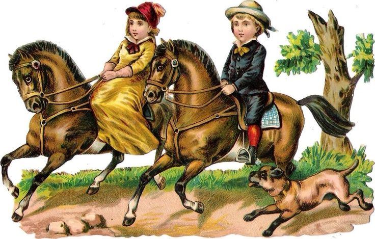 Oblaten Glanzbild scrap die cut chromo Kind child Pferd horse cheval Hund dog