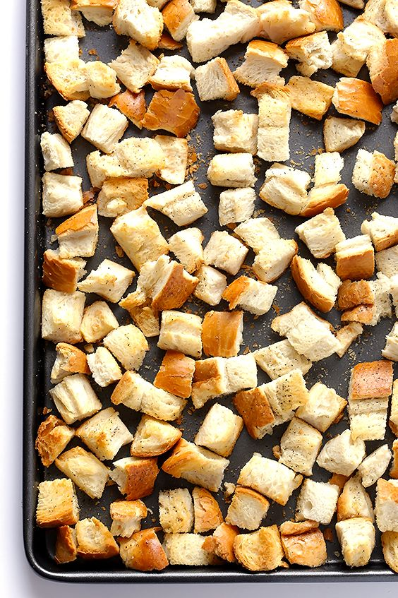 How To Make Homemade Croutons | gimmesomeoven.com  Make from left over crust wasted by kids!!