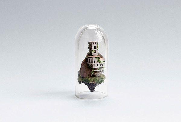 Amsterdam-based artist/designer Rosa de Jong suspends tiny, intricate, handmade architectural scenes in test tubes. More images below. Rosa de Jong's Website Rosa de Jong on Behance Via Faith is Torment