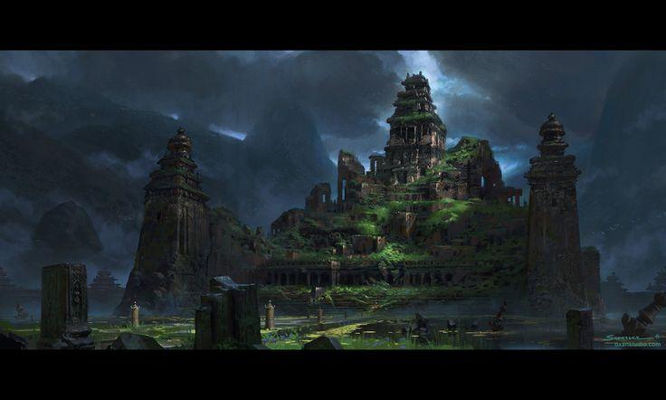 Jungle Temple - Concept Art Tutorial : Action/Adventure Game Set Piece, Yohann Schepacz OXAN STUDIO on ArtStation at https://www.artstation.com/artwork/jungle-temple-concept-art-tutorial-action-adventure-game-set-piece