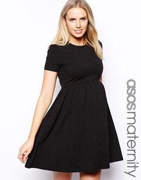 Christmas dress?? Enlarge ASOS Maternity Skater Dress With Slash Neck And Short Sleeves