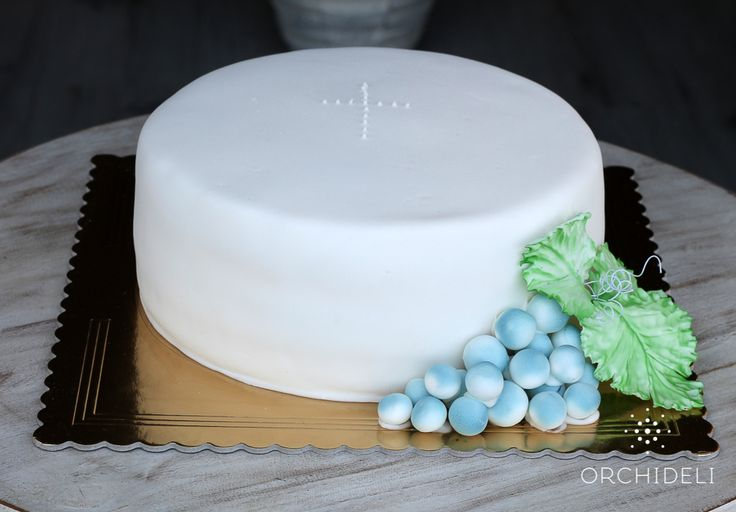 orchideli - tort na komunię, tort komunijny, simple first communion cake