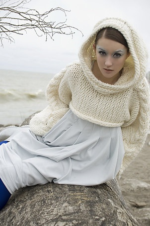 Knitting Pattern For Shrug With Hood : Chunky knit shrug with a hood one size by ...