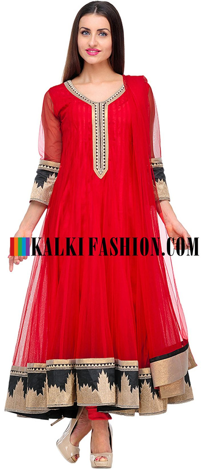 Buy Online from the link below. We ship worldwide (Free Shipping over US$100)  http://www.kalkifashion.com/red-embroidered-anarkali-suit-set-10593.html