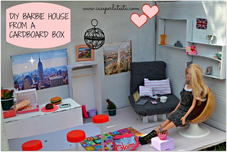 Fai da te la casa di Barbie con  una scatola di cartone *  Diy barbie house from a cardboard box