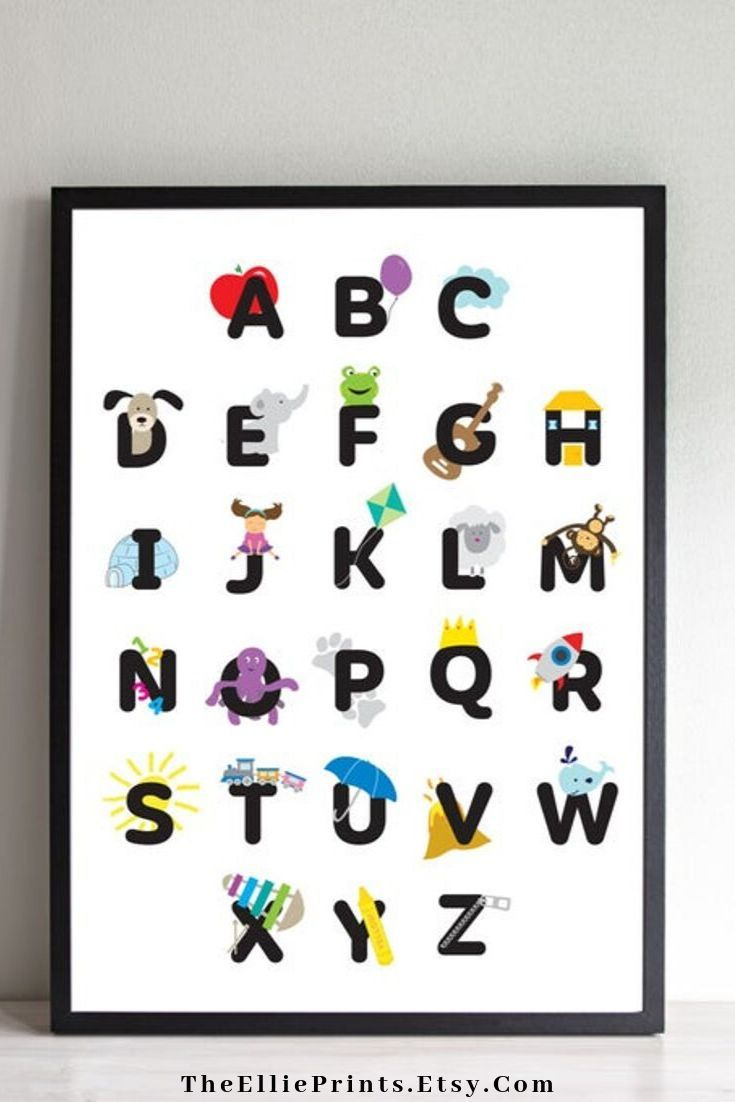 Personalized Abc Chart Alphabet Poster Alphabet Canvas Abc Etsy Alphabet Poster Alphabet Print Alphabet Wall Art