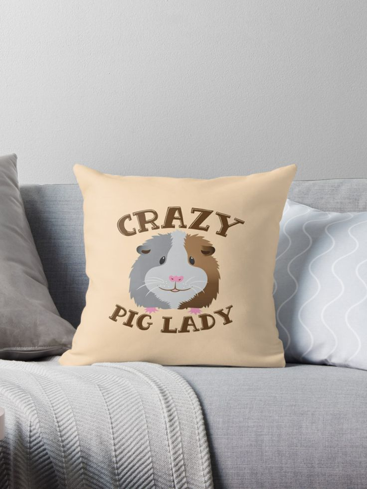 CRAZY pig Lady (guinea pig) cute throw pillow• Also buy this artwork on home decor, apparel, stickers, and more. Super cute design for birthday presents, gifts and Christmas from RedBubble and jazzydevil designz. (Also available in mugs, cups, shirts, duvet covers, acrylic block, purse, wallet, iphone cases, baby onsies, clocks, throw pillows, samsung cases and pencil skirts.)