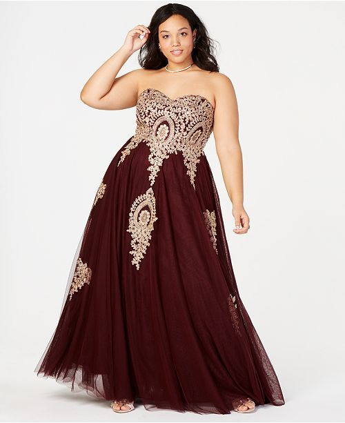 828bb067ab5 Say Yes to the Prom Trendy Plus Size Embroidered Strapless Gown ...