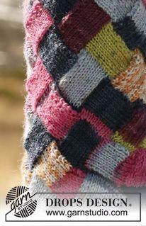 """DROPS 114-19 - DROPS sokker med vinkelstrikket entrelac mønster i """"Fabel"""". Kan strikkes med foten i entrelac mønster eller foten i glattstrikk og vrangbord. - Gratis oppskrift by DROPS Design"""