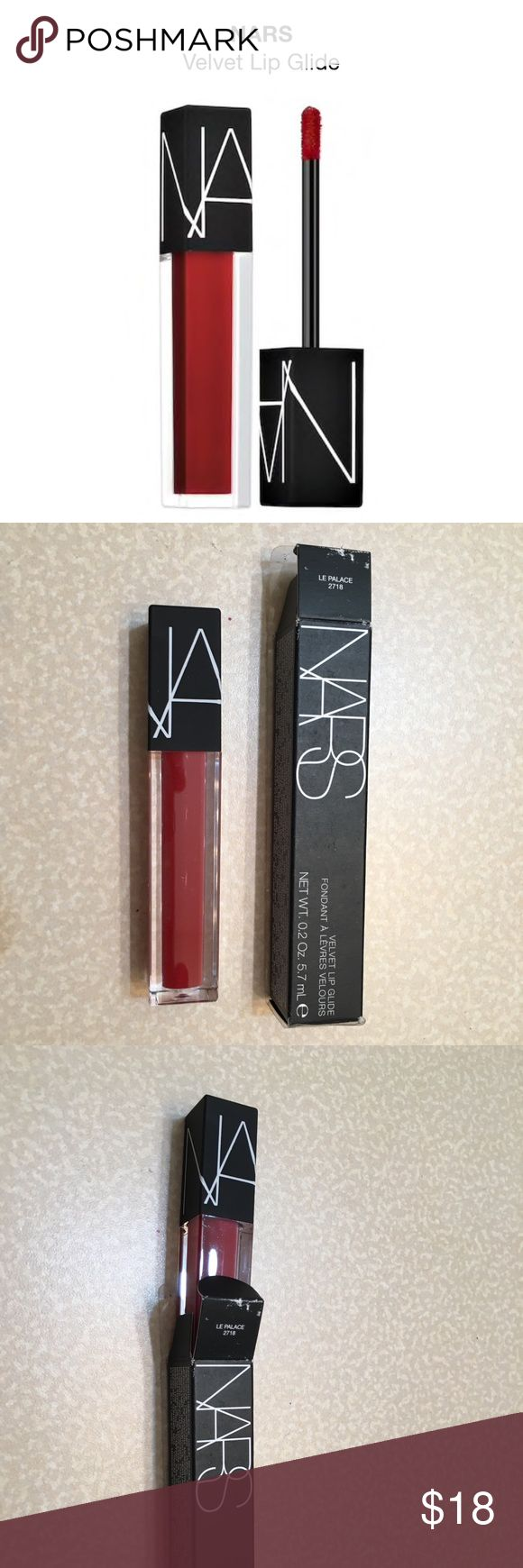 NEW! NARS Lip Glide New in box! NARS lip glide in color Le Palace - blood red. Retails $26 An innovative, long-lasting lip color with a smooth, semi-matte finish that provides ultimate hydration. NARS Makeup Lip Balm & Gloss
