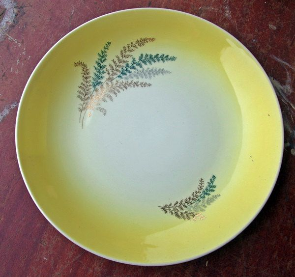 Wembley Dinner Plate with fern pattern. Retro Australian pottery by AgnesWaterCollectble on Etsy