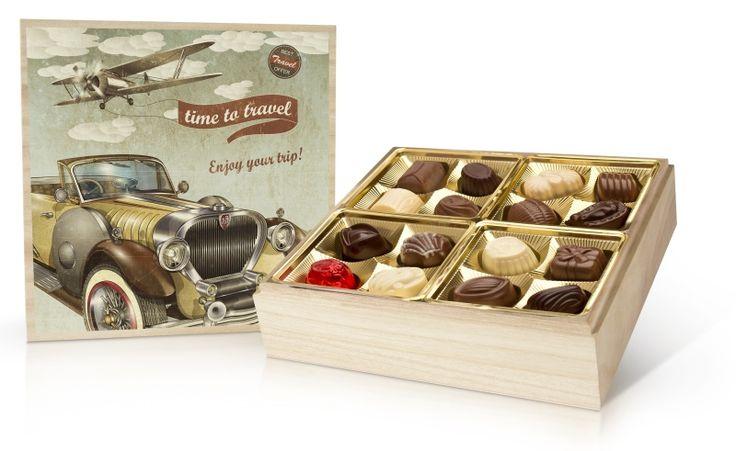 Retro bonboniera 400g s belgickými čokoládovými pralinkami