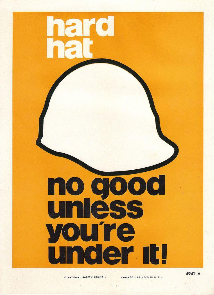 Vintage National Safety Poster - Hard Hat. $12.95, via Etsy.