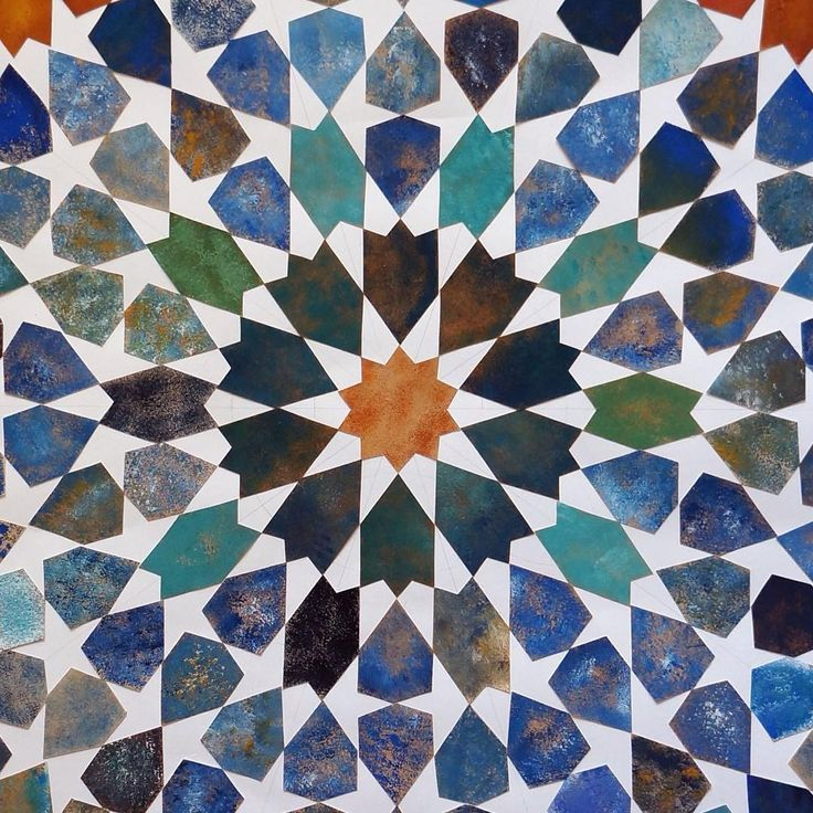 Geometric collage by Art of Islamic Pattern Tutor Richard Henry. #islamicpattern #geometry #collage #cutpattern #cutpaper