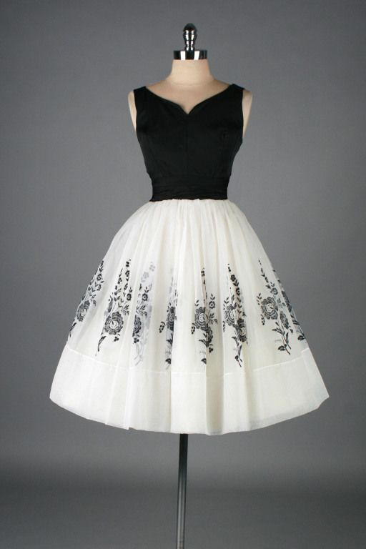 1950's White Chiffon Flocked Floral Cocktail Dress