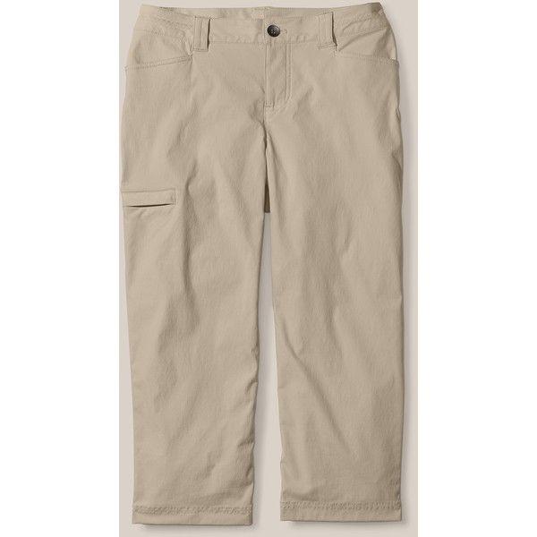 Horizon Capris found on Polyvore featuring women's fashion, pants, capris, brown capris, capri pants, brown trousers, brown pants and cropped capri pants