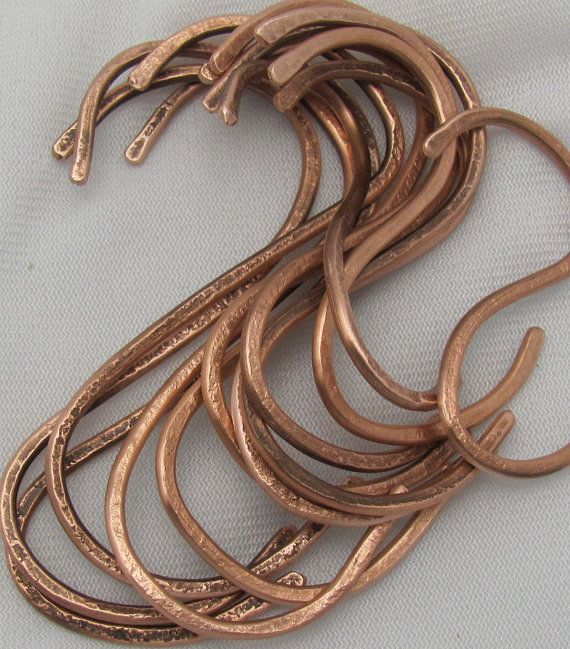 "Hand Hammered Copper ""S""  Pot Rack Hooks (set of 10)."