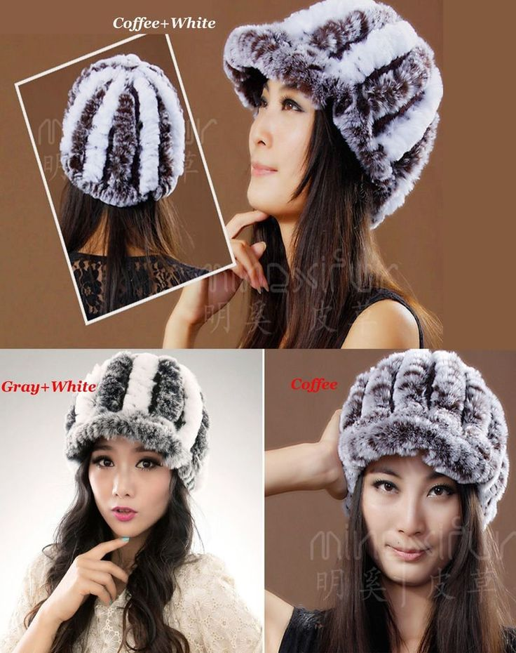 New Rex Rabbit Real Fur Lady Fashion Cap With Elasticity Lining (3 Colors) #Handmade #Cap
