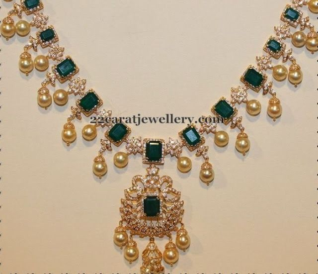 Jewellery Designs: Emeralds and Diamonds Choker
