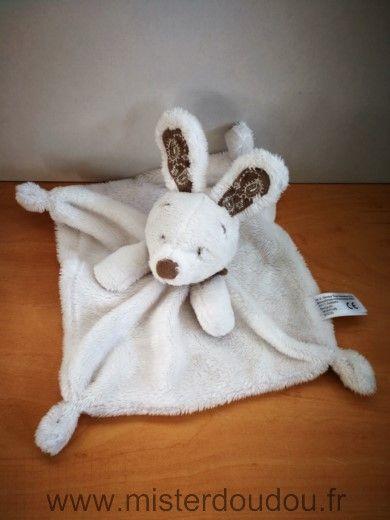 Doudou Lapin Simba toy Blanc foulard beige nicotoy