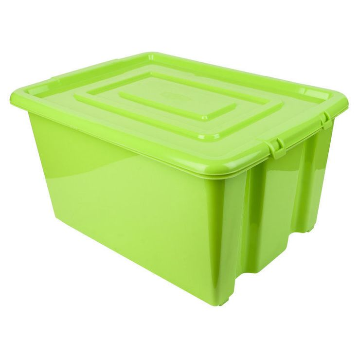 GREEN PLASTIC LARGE 52L LITRE STORAGE BOX TUB CONTAINER WITH LID TOY BOX KIDS | eBay