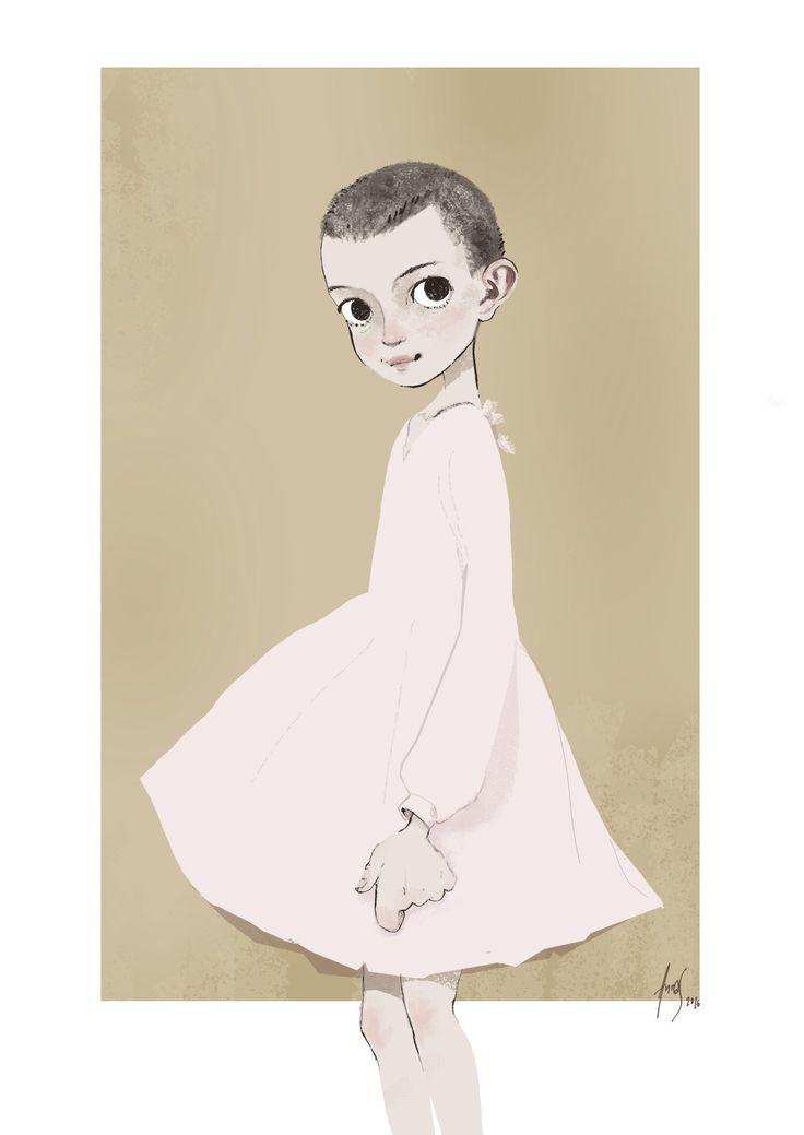 Eleven, Stranger things fanart character design- by Anna Sæbjørnsen