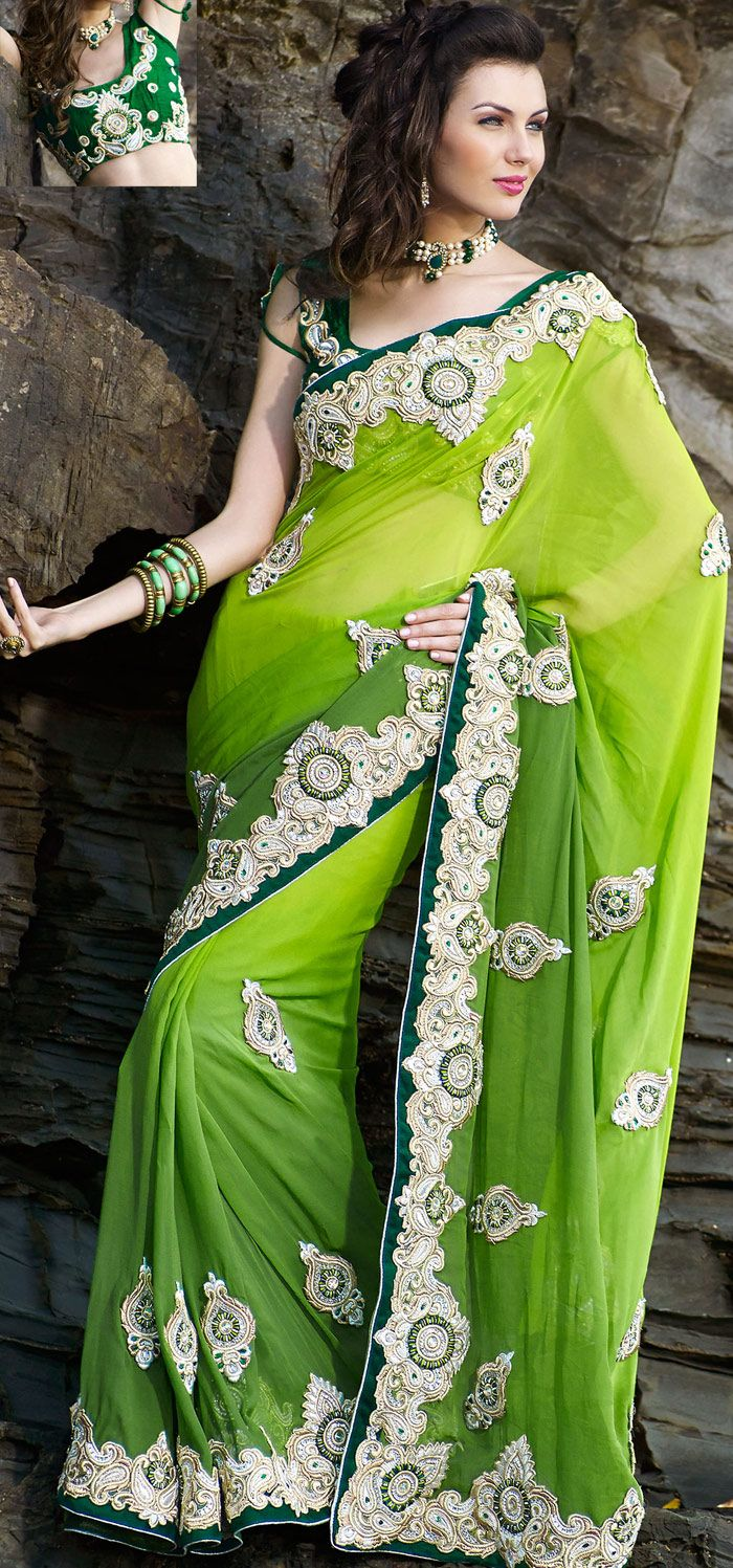 Chartreuse Faux Georgette #Beautiful #Designer #Saree | @ $211.78 | Shop It Here: http://www.sareegalaxy.com/pages/itemlarge.aspx?itemcode=SHK6O714