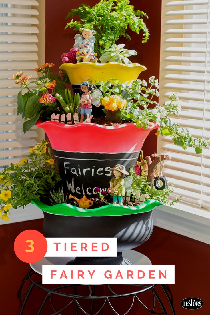 In just one day, you can create a personalized DIY 3-tiered fairy garden for your entryway. Bright-colored spray paint and chalkboard paint put a DIY touch on three plain terracotta pots. Add your fairies and you've got a fun and cheerful place to grow succulents, herbs or other house plants and cactus. Get started with Testors Create FX and this free tutorial!