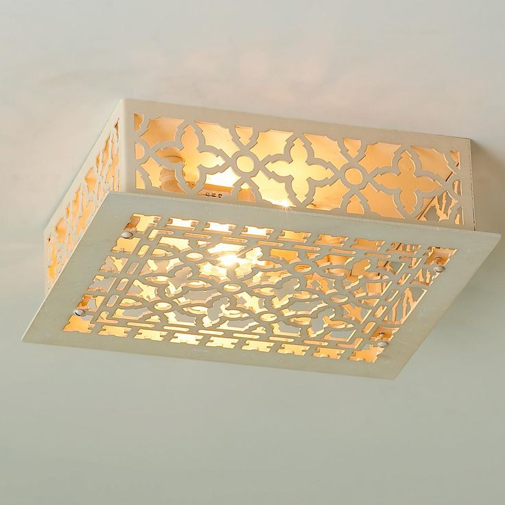 Reproduction Iron Grate Flush Mount Ceiling Light