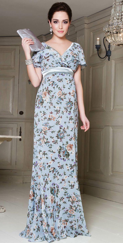 Ruffle Maxi Maternity Dress (Duck Egg Blue) by Tiffany Rose