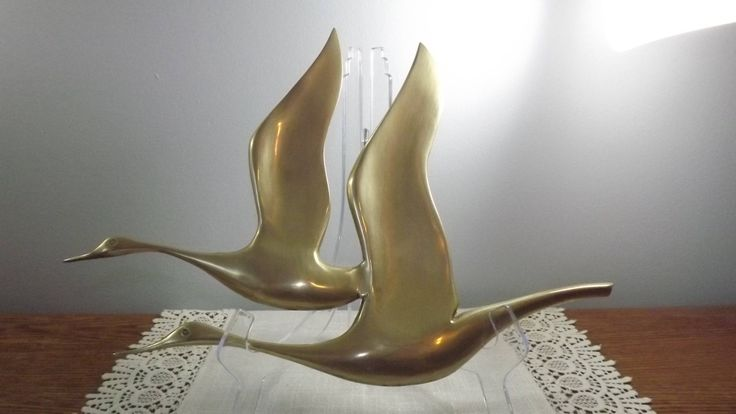 Solid Brass Birds in Flight, Majestic Mid Century Modern Vintage Decor for the Wall of a Bird Lover by OutrageousVintagious on Etsy