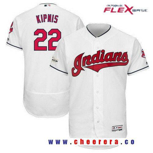 Men s Cleveland Indians Jason Kipnis Majestic White Stitched 2017 MLB  Postseason Patch Flex Base Player Jersey bc88cbe82