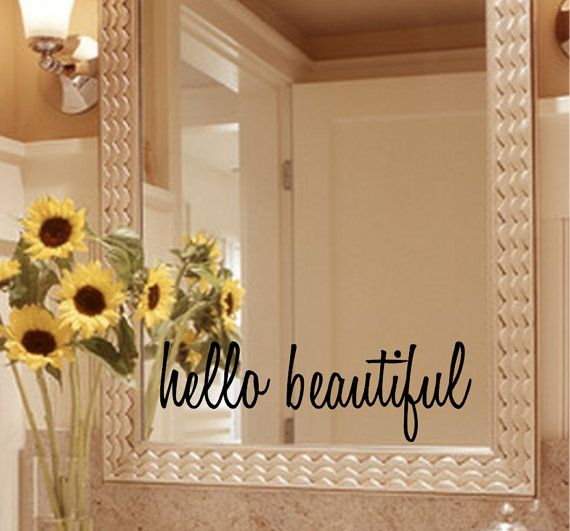 Hello Beautiful Mirror Decal Sticker / Mirror by GiftedThimble