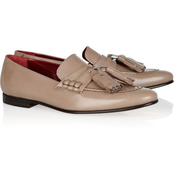 Burberry pale-taupe loafers. Heel measures approximately 10mm/ 0.5 inches. Leather. Slip on. Designer color: Trench. Italian sizing. Fits small to size. Take a…
