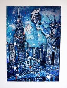 THE CITY THAT NEVER SLEEPS  2010  72 CM X 102 CM X 20 CM  acrylics & 3D paper construction framed in plexiglass designed box