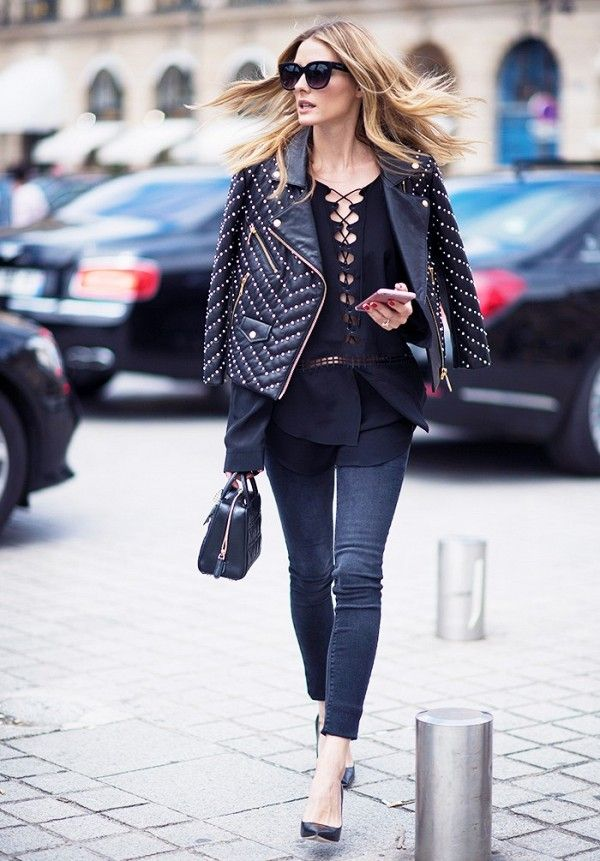 To pull the ultimate fashion girl move, rock a statement making top and throw a leather jacket over your shoulders to keep from getting to hot like Olivia Palermo