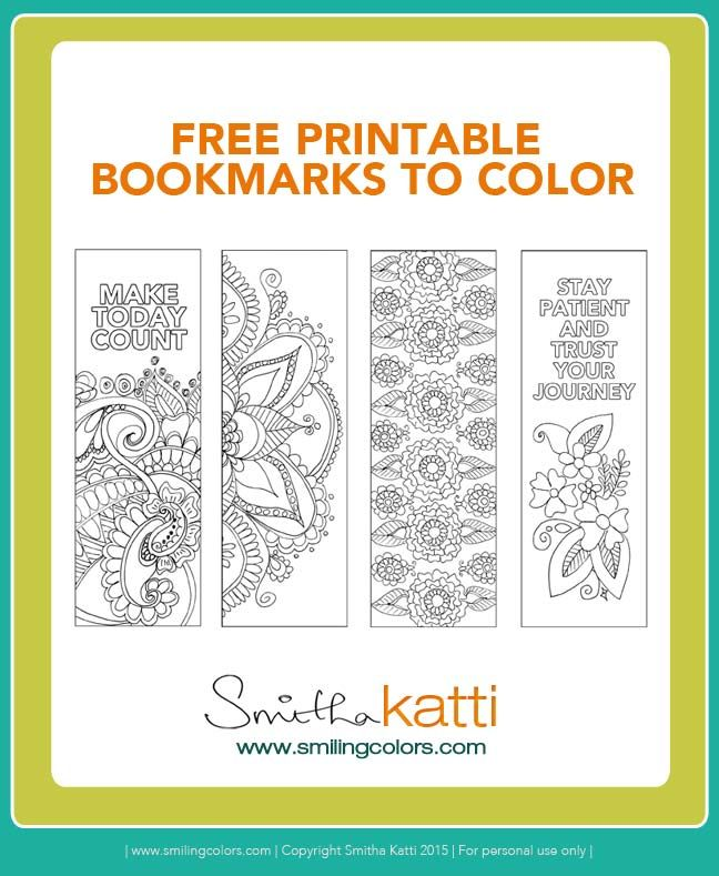 Free Printable Bookmarks to Color! Adult coloring pages, stress relieving…