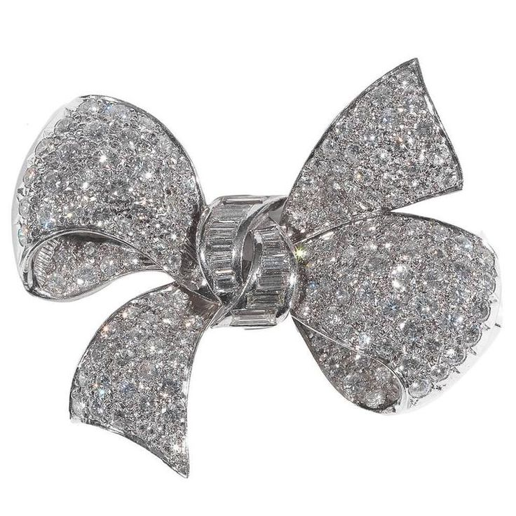 Diamond Platinum Bow Brooch 1